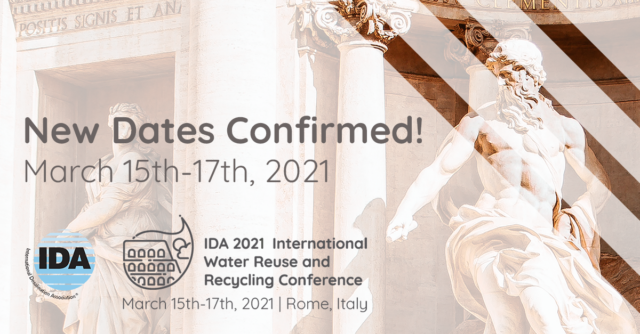 IDA 2021 International Water Reuse and Recycling Conference<br>Rome, Italy | March 15-17, 2021<br> @ Roma Eventi at Piazza di Spagna
